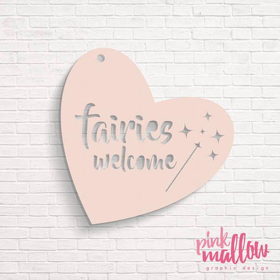 Fairies Welcome  Acrylic Wall Door Hanger  Girls