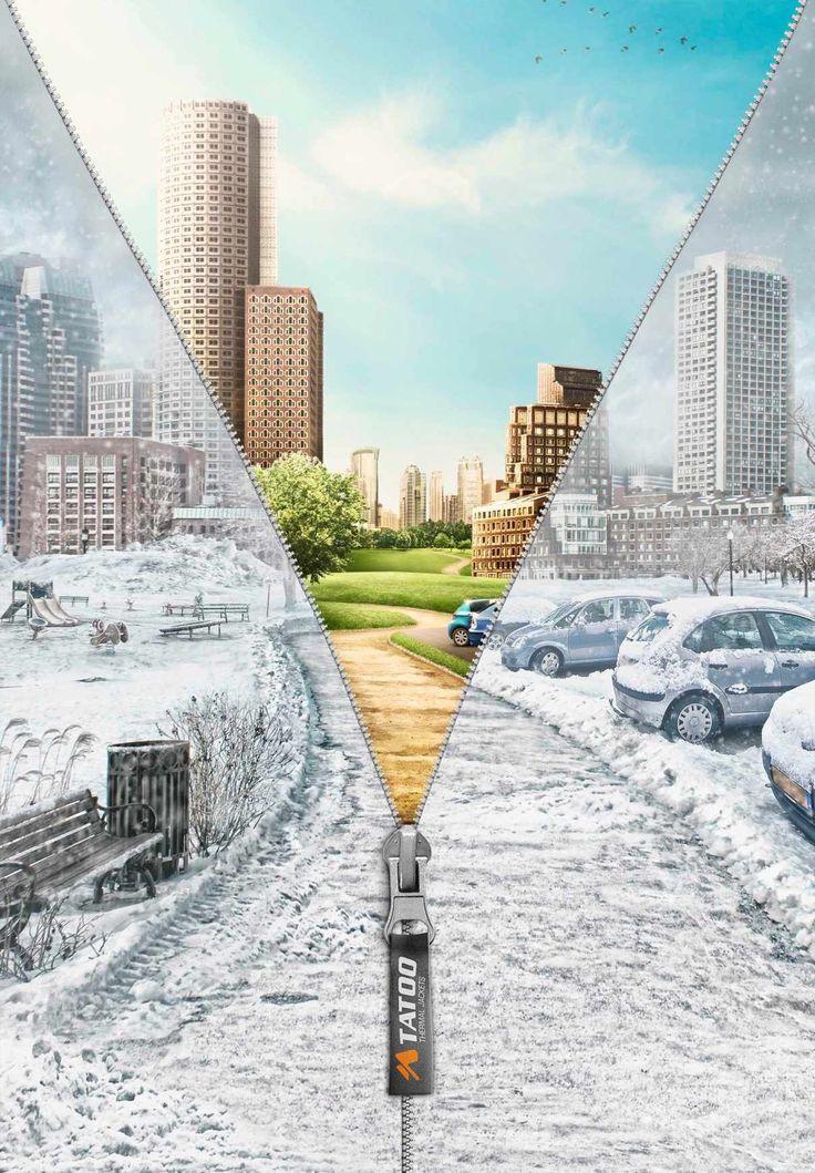 天気を変える服。保温性の高さを分かりやすく比較表現で描いたプリント広告   AdGang