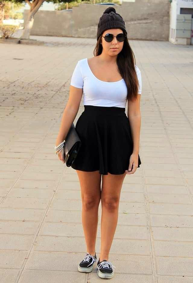Black skater skirt outfit! | Skirt Outfits | Pinterest | Black skater skirts Skater skirts and ...
