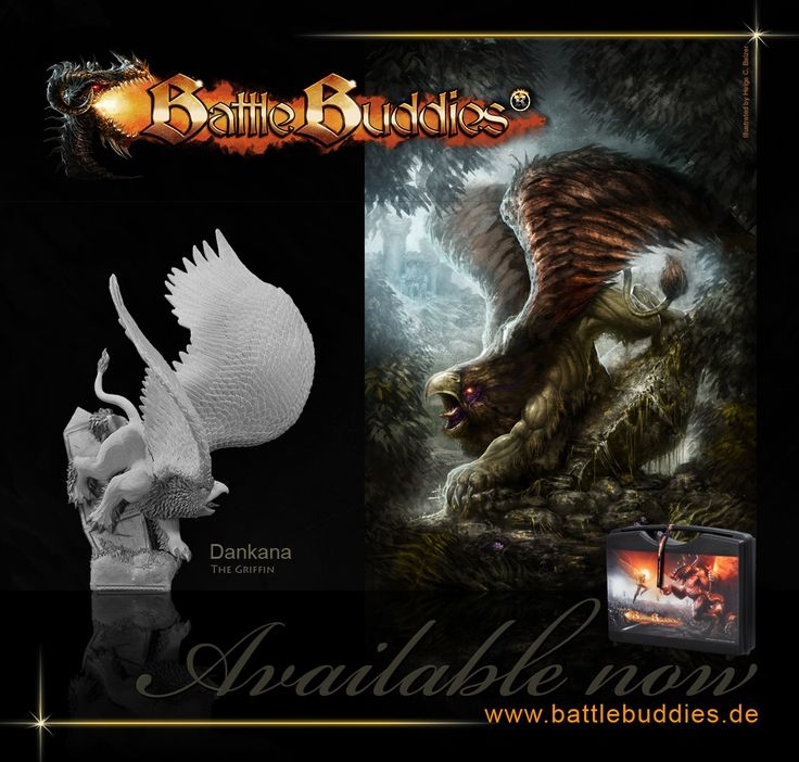 Dankana - the griffin - #collectable #miniature #sculpture #figure #figurine #model #resin #handmade #fantasy #28mm #50x50base #creature #critter #BattleBuddies #sculpting #monster illustration by helge c. balzer - BattleBuddies is a registered trademark - all rights reserved