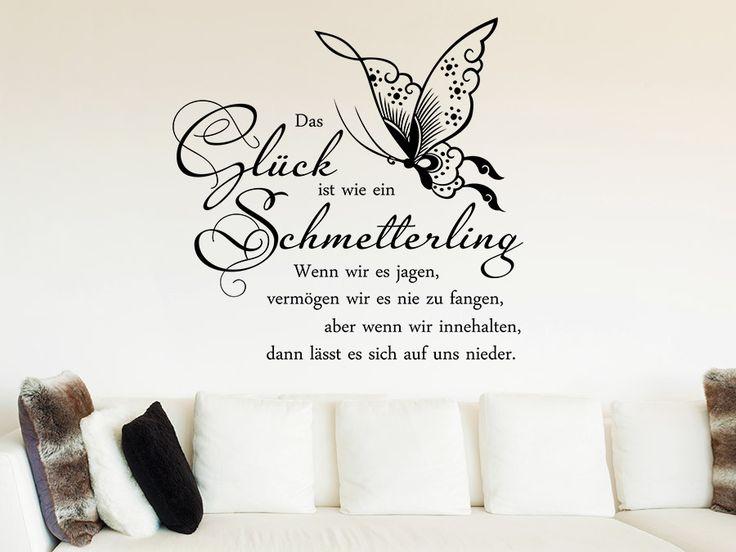 Wandtattoo Glück ist wie ein Schmetterling