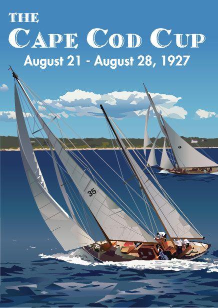 Print of original artwork, Sailing, Cape Cod, Vintage Poster, 1920s, Poster, Yacht, Sailboat, race, summer house, regatta, vacation house