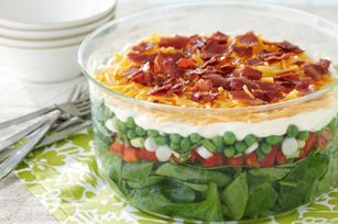 Seven-Layer Salad Made Over recipe - This better-for-you version of a potluck fave has fewer calories and less fat than the original salad, but all seven layers of flavor are still there!
