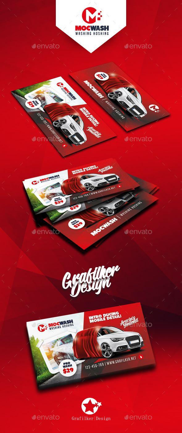 Car Wash Business Card Templates by grafilker Car Wash Business Card Templates Fully layeredINDDFully layeredPSD300 Dpi, CMYKIDML format openIndesign CS4 or laterCompletely edi
