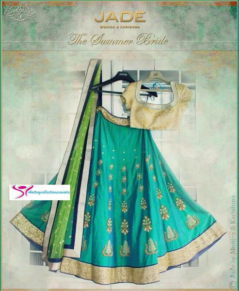 Lush Jade Emerald And Celadon Silk Lehenga shop it at andaazcollectionscanada