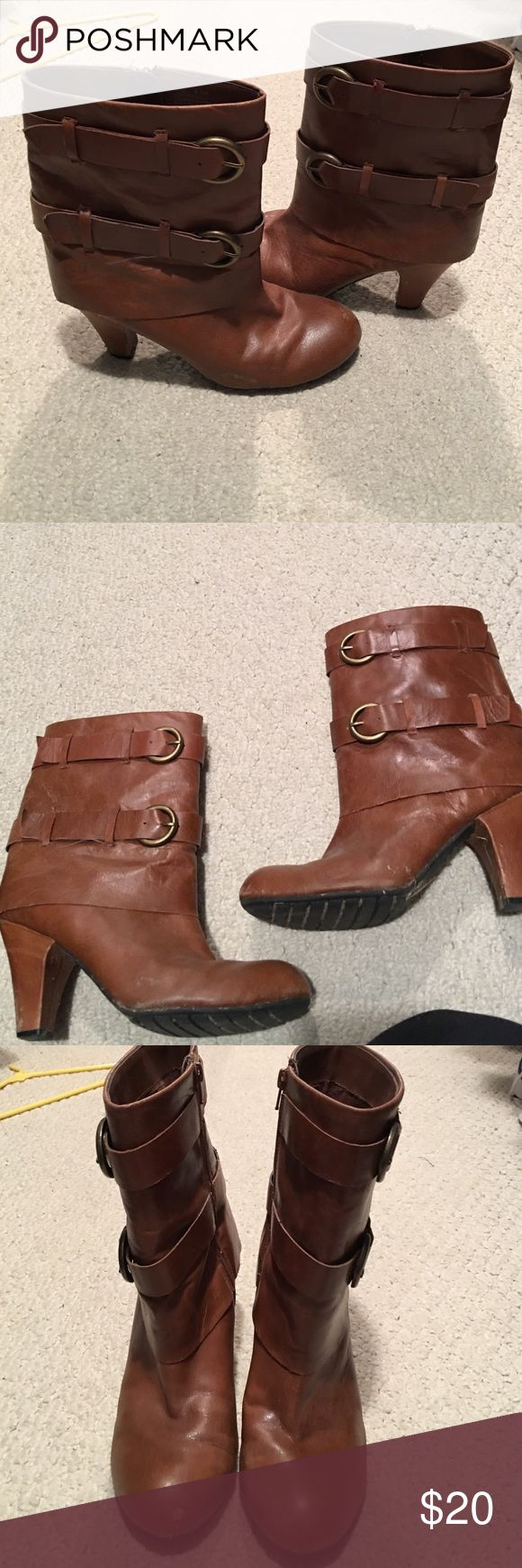 Women's brown boots size 9.5. Women's brown heeled boots size 9.5. Some sign of wear a few scuffs but still looks good. ME TOO Shoes Ankle Boots & Booties