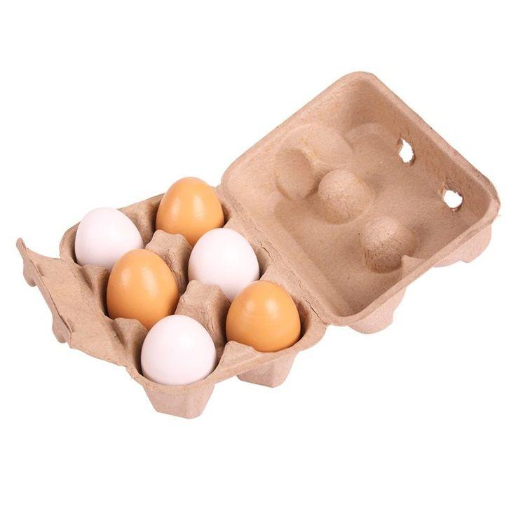 Drewniane jajka 6 szt firmy Bigjigs świetne do zabawy w sklep