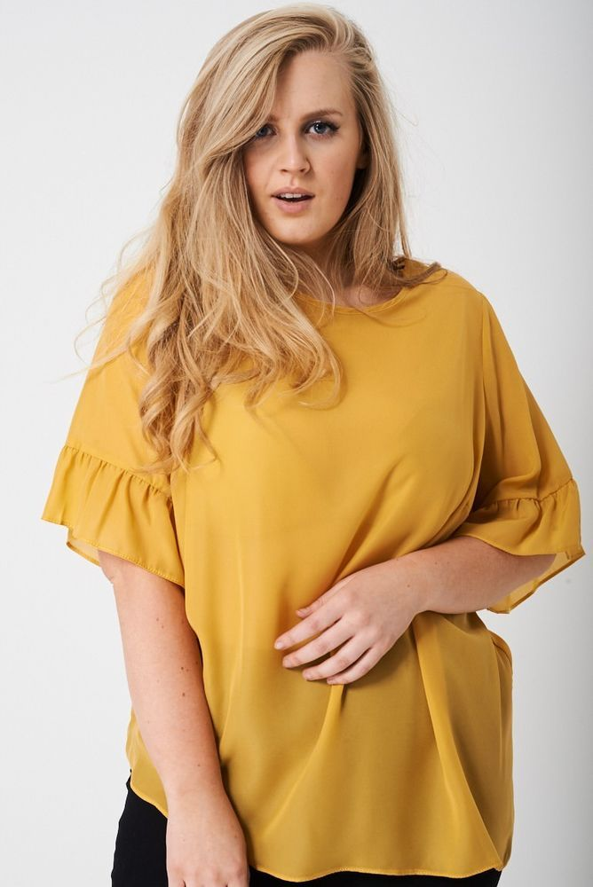 Womens Mustard Yellow Plus Size Top Blouse UK 16 - 24 Frill Ruffle Short Sleeve