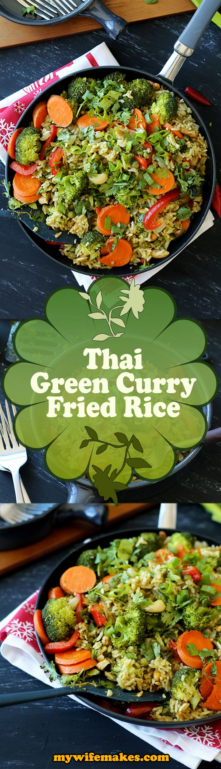 Simple and delicious Vegan Thai Green Curry Fried Rice recipe. A breeze to prepare, packed with healthy taste (very little oil, uses fresh ingredients).
