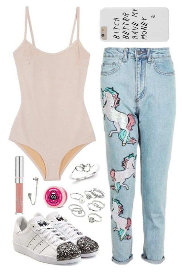 """""""unicornn"""" by luhemmings ❤ liked on Polyvore featuring Base Range, Topshop, adidas Originals, Candie's, Kevin Jewelers, The Body Shop and Dorothy Perkins"""