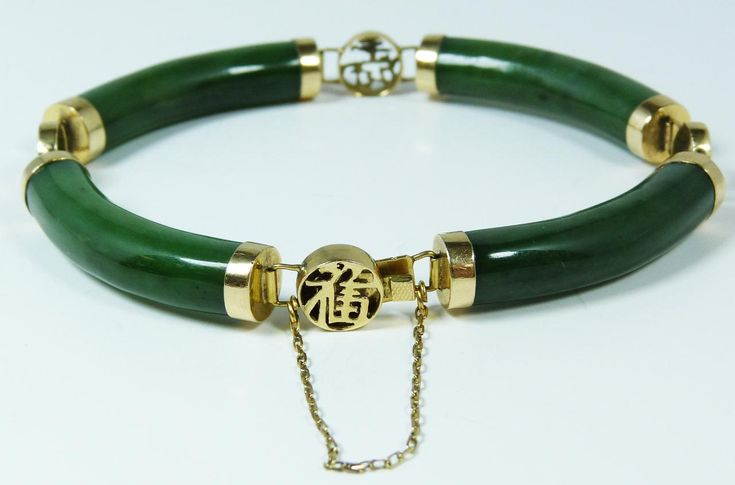 Jade Bangles From China | 111 14k y g chinese carved gem jade bracelet 14k yellow gold bracelet ...