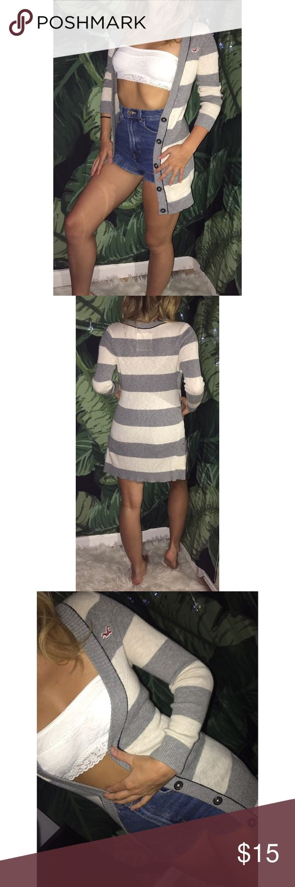 😻😻STRIPED CARDIGAN😻😻 very lightweight cardigan super comfy & adorable!!! grey & white stripes with no damage at all!!! one of my favorites!!! i used to style with a red t shirt dress, black belt with gold buckle, thigh high socks & thick frame glasses for librarian vibes!!! Hollister Sweaters Cardigans