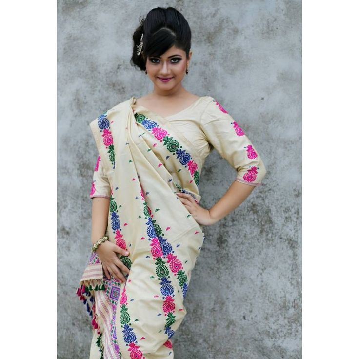 Assam 100% pure Tassar pat with Multicolour Motifs Mekhela Chadar
