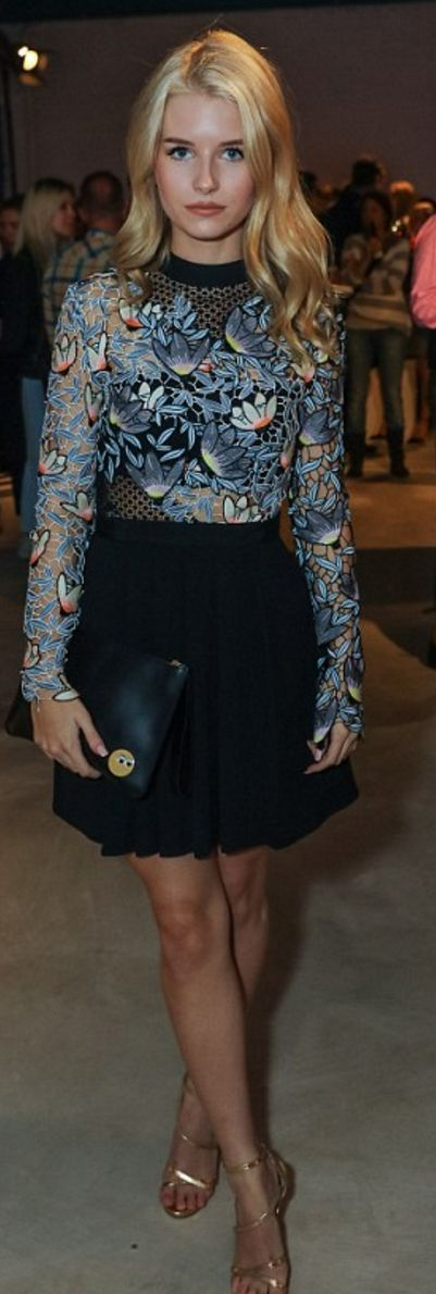 Who made Lottie Moss' blue floral long sleeve top?