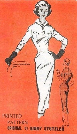 1950s Bombshell Slim Dress Pattern Prominent Designer M275 Wing Collar Absolute Wiggle Dress Ginny Stutzlen Design Bust 34 Vintage Sewing Pattern