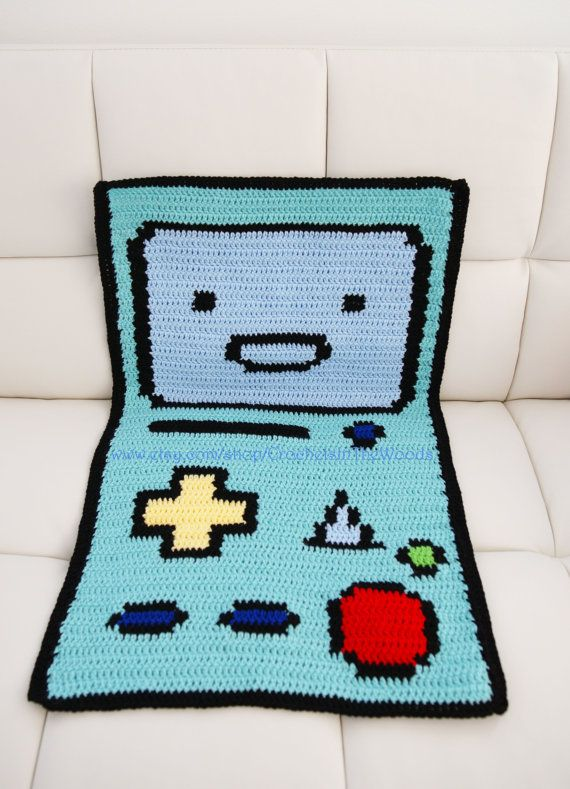 LARGE Crochet Amigurumi Adventure Time Inspired BMO Blanket/ Rug/ Couch Cover…