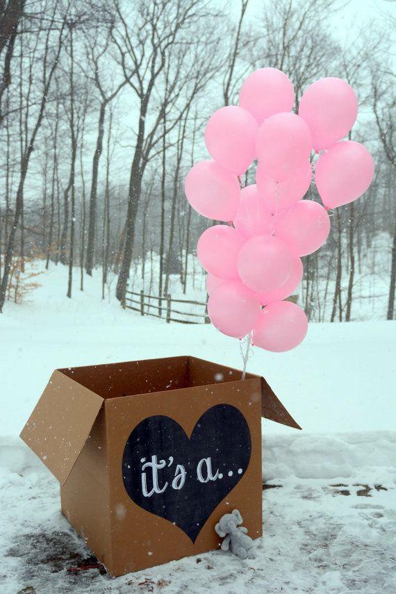 it's a... gender reveal balloon box sign chalkboard