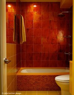 Red tiles from India for the guest bathroom redesign by Celia Berliner Design LLC.