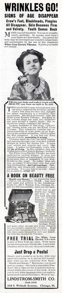 White Cross Electric Vibrator -1912 for 'wrinkles'