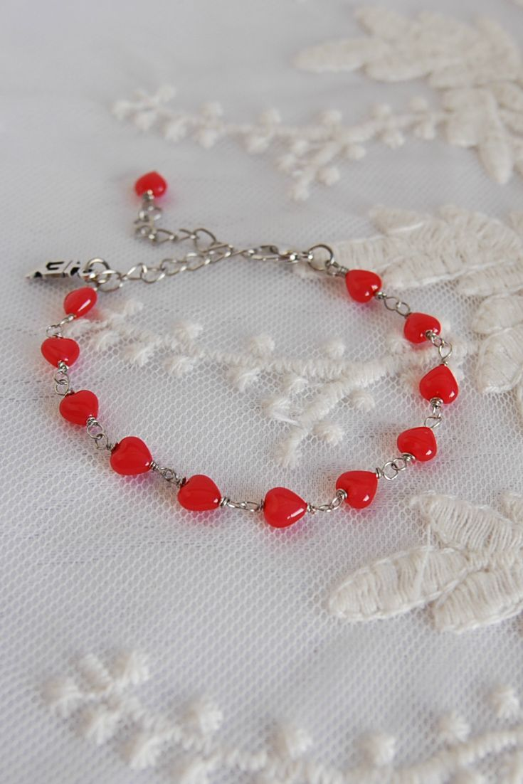 #valentinesday Red hearts bracetet, Love bracelet, #valentinedaygift Red Jewelry