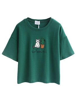 Shop Green Embroidery Letter And Cat Patch Short Sleeve T-shirt from choies.com .Free shipping Worldwide.$10.9
