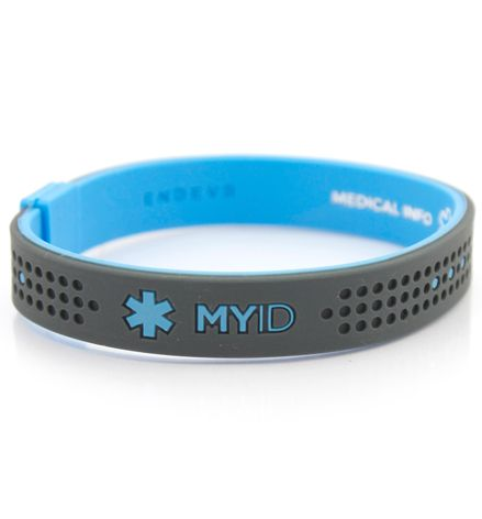 MyID Sport Blue and Gray Medical ID Bracelet. Very interesting. New idea in medical ID bracelets