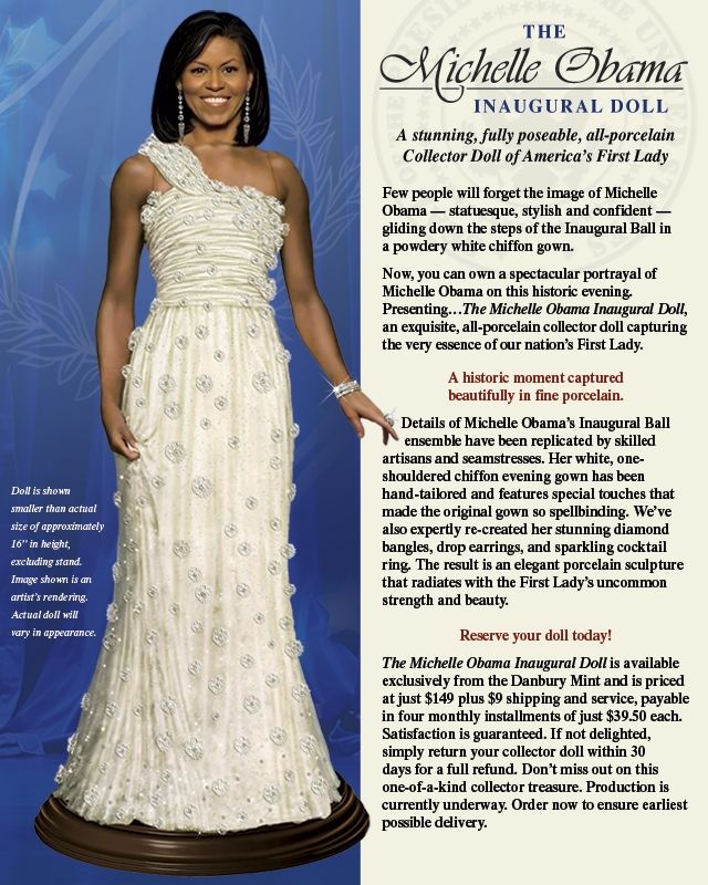 Michelle Obama @ The Inaugural Ball 2009 Collector Doll - The Dansbury Mint
