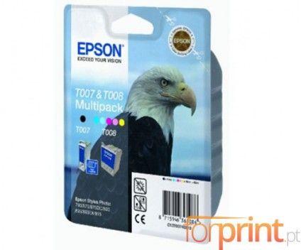 2 Original Ink Cartridges, Epson T007 Black 16ml + T008 Color 46ml - Price: 73,94€