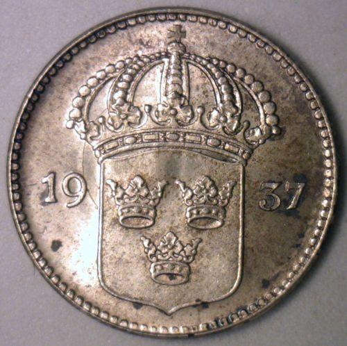 1937 silver coin, Sweden, 10 öre