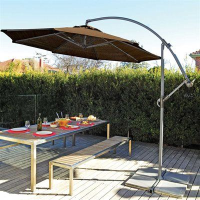 On Sale Bali Pro 10' Square Rotating Cantilever Umbrella with Lights