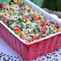 Warmer Spinatdip / Ein warmer Gemüsedip mit Paprika, Artischocken, Spinat, Sour Cream und Paremsan. Schmeckt toll mit Crackern oder Baguette.@ de.allrecipes.com