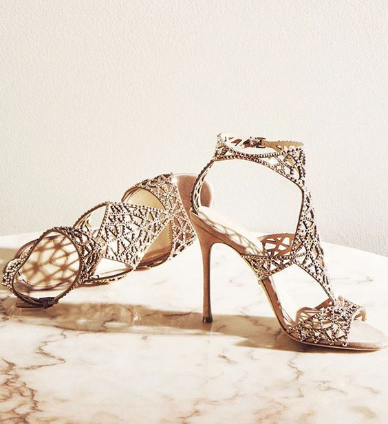 Uniquely glamorous gold wedding shoes; Via Sergio Rossi