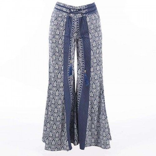 LONG TROUSERS ''LEAF BLUE''  MEDIUM (100% RAYON)