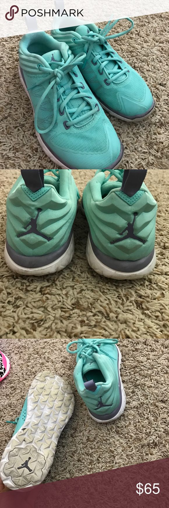 Jordan trainers size 7Y Worn about 2 or 3 times. I have a TON of gymshoes so none really get worn too much. All are in great condition. Jordan Shoes Athletic Shoes
