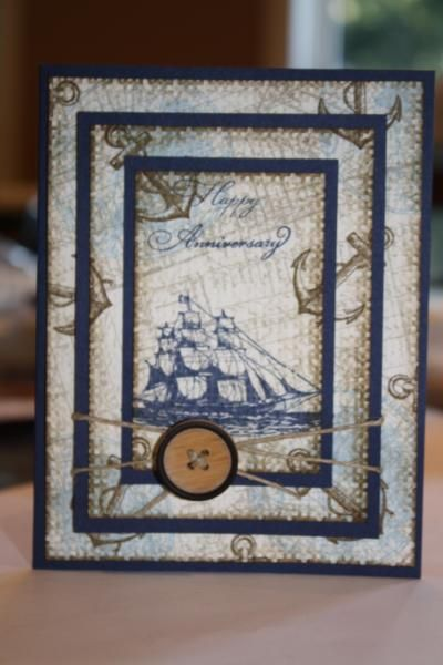 I love the idea of stamping a full card and then cutting it into three layers so the stamp continues from one to the next. Also love the nautical theme but I think it could work with just about anything.