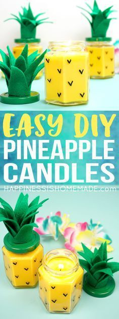 These Easy DIY Pineapple Candles are SO simple to make, and they smell amazing! Makes a great DIY gift idea for friends, family, teachers, neighbors, and more!