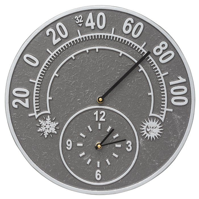 The traditional style of this combination of clock and thermometer will add a classic elegance to your home or outdoor living space.