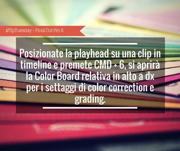 #TipTuesday - Giorgio Lovecchio: posizionate la playhead su una clip in timeline e premete CMD + 6, si aprirà la Color Board relativa in alto a dx per i settaggi di color correction e grading.