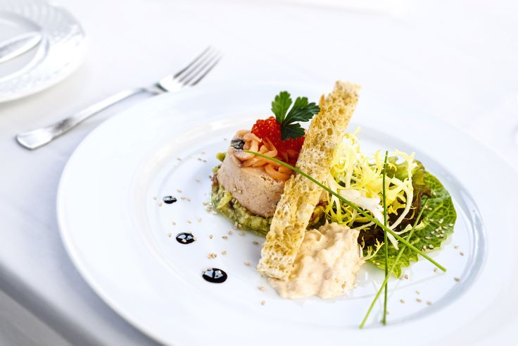 Salmon terrine with virgin olive oil toast at The Vintage House #Hotel, #Douro #Portugal