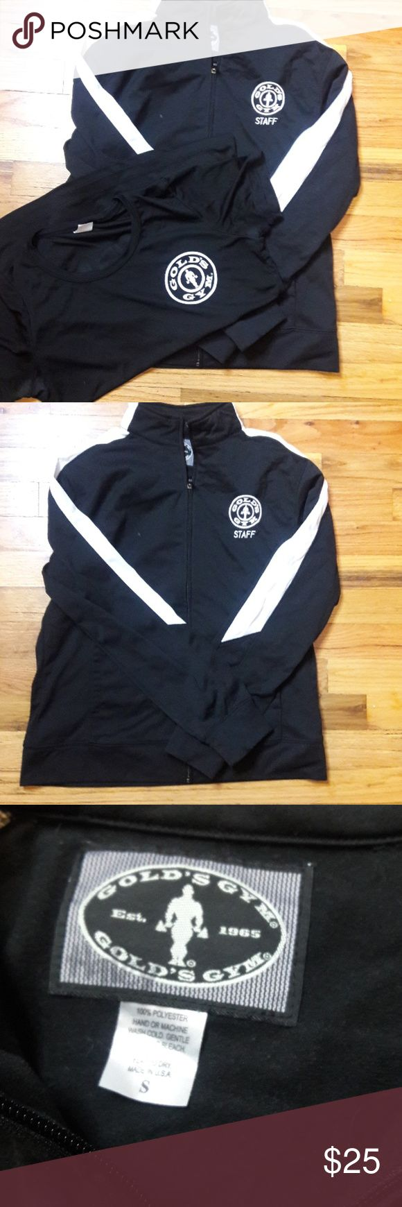 Official Golds gym track jacket and shirt Official staff track jacket from golds gym and staff shirt.  😊 the jacket is amazing and warm and the shirt is an awesome fit. Both are in a size small! golds gym Jackets & Coats