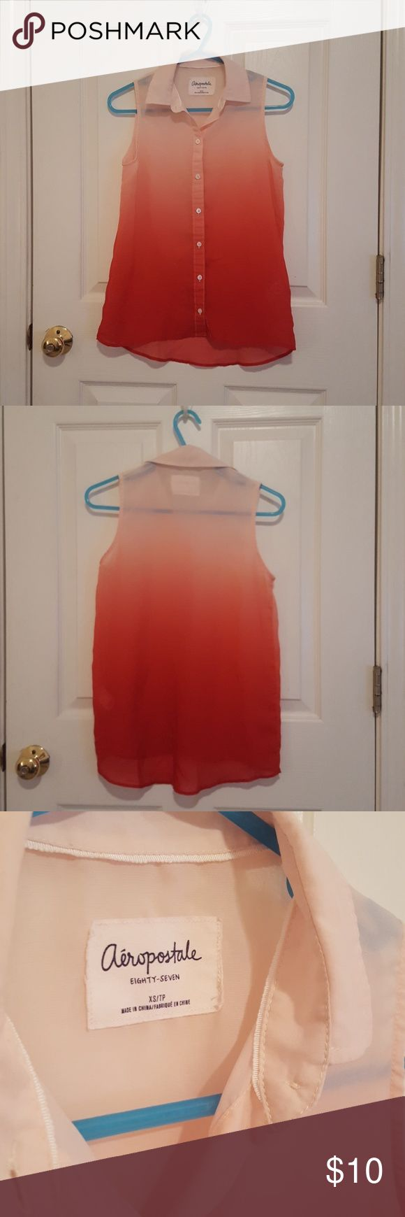 Aeropostale Ombre Sleeveless Button Up Blouse Beautiful sheer ombre style blouse, gradient from top to bottom is peach to red. Perfect for young professionals or a teen's first job. No stains, no rips. Lightly worn. Needs slight ironing. Aeropostale Tops Blouses