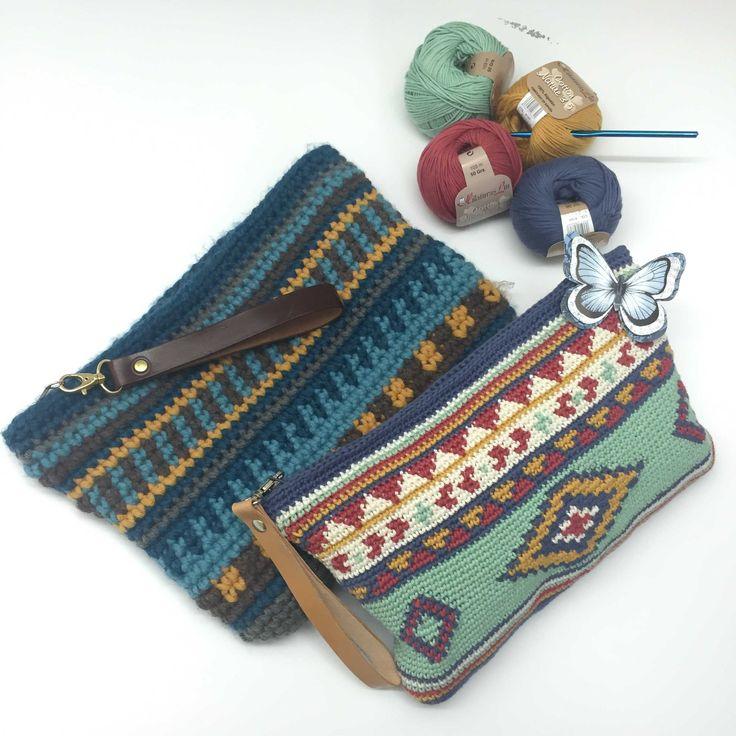 Patrón de crochet de un precioso bolso hecho con aguja de 3mm y algodón de Hilaturas lm 3.5, azul denim, verde agua, mostaza, y crudo.