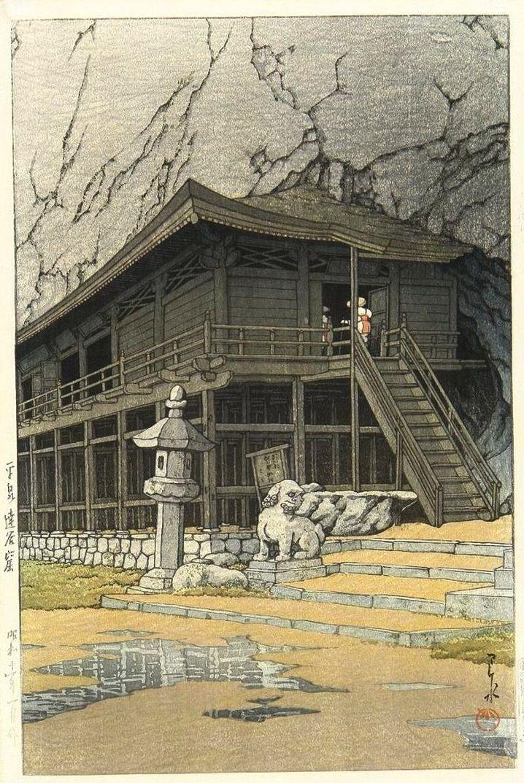 Cave of Takkoku, Hiraizumi, by Kawase Hasui, 1936