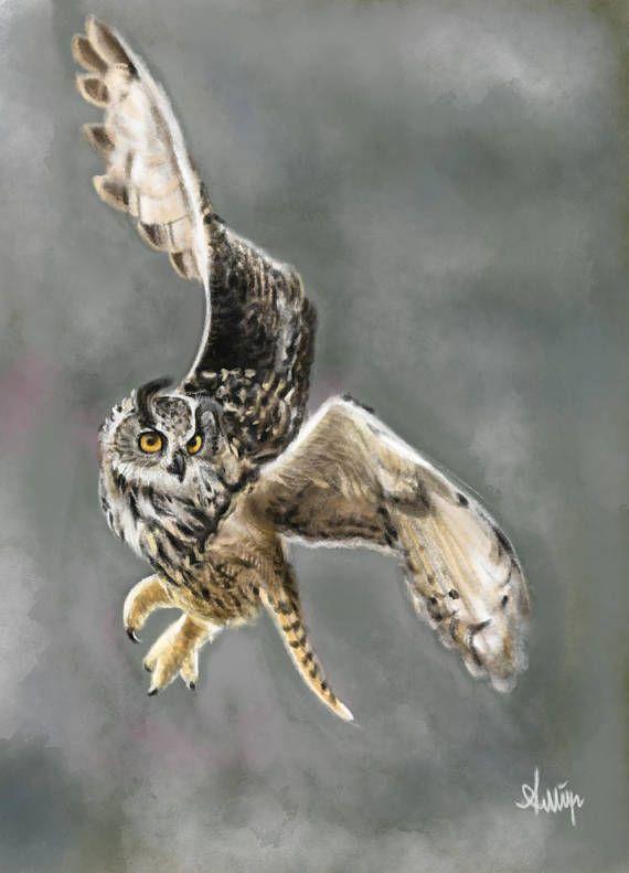 Flying Owl Etsy Shop Owl Great Horned Owl Owl Bird