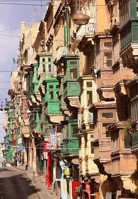 lifeistooshortdont:  gyclli:  Windows of Valletta - the balconies of Republic Street, Valletta, Malta by Budapesten   trekearth.com     Malta     Life in Malta