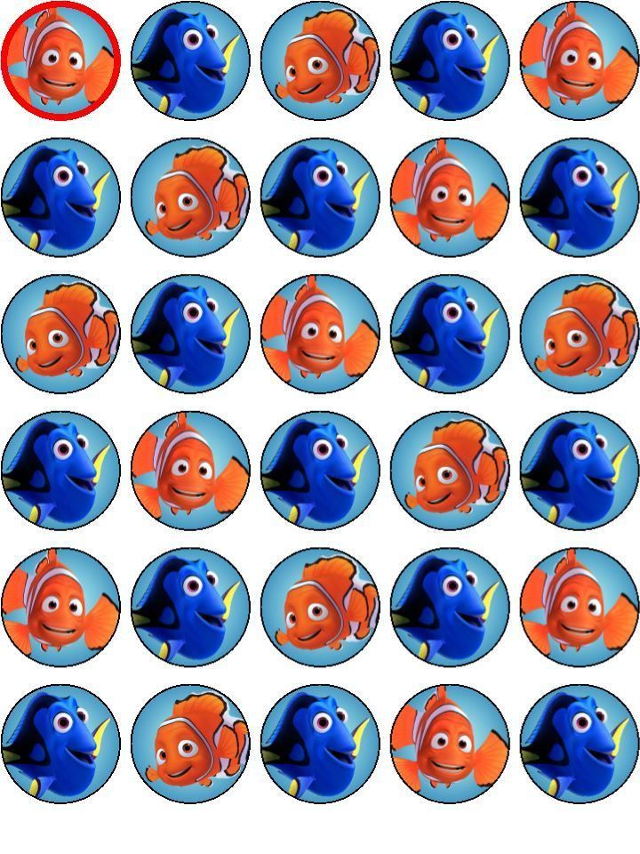 30 Finding Nemo / Dory Edible Cupcake Toppers Party Decoration PRECUT in Home & Garden, Parties, Occasions, Cake | eBay