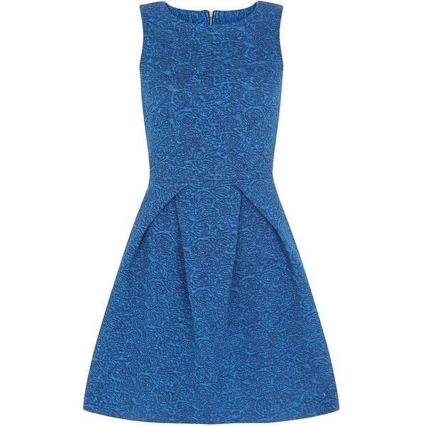 Closet Blue Denim Skater Dress (125 BAM) ❤ liked on Polyvore featuring dresses, sleeveless dress, denim summer dress, fit & flare dress, summer dresses en fit and flare dress