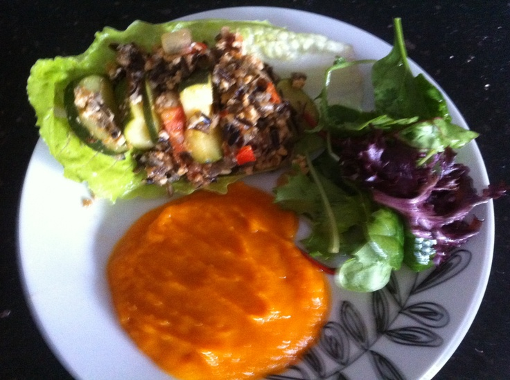 Eat Clean and be healthy!!  Black rice Chicken Mince Zucchini Tomato Chilli Garlic Diced Onion Mashed Pumpkin Garden Salad