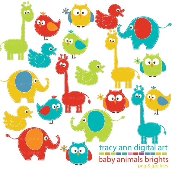 Bright Baby Animals Clipart Mega Set Clip art $10.95 This set of clip art comes to you in png and jpg format which has a transparent background and perfect to use as graphics in most programs. Includes an assortment of baby animals in four colour ways for a total of 20 elements. Each animal is in its own file. #animals
