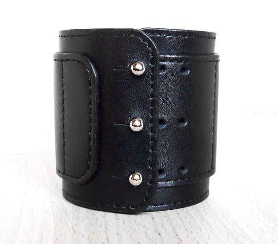 Wide Leather Bracelet, Cuff. Black Leather Wristband. Price: 45$.